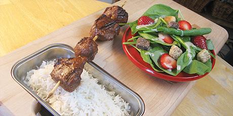Morocan Lamb Kabobs, Rice and Spinach Salad