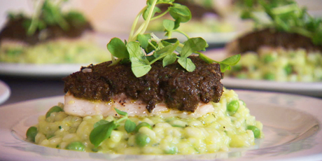 Mushroom Duxelle Crusted Pickerel with Sweet Pea Risotto