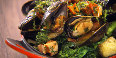 Mussels with Bacon and Rapini