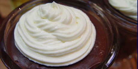 Old Fashioned Chocolate Pudding with White Chocolate Whipped Cream
