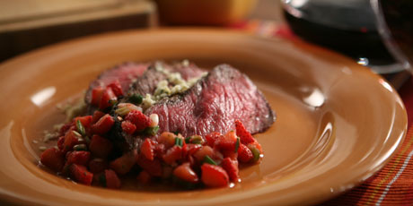Onion Marinated Sirloin with Spicy Spring Salsa