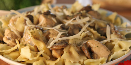 Orange And Mushroom Chicken With Bow Tie Pasta And Broccoli Recipes Food Network Canada