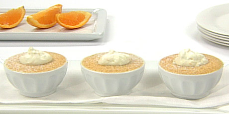 Orange Pudding Cakes with Citrus Cream