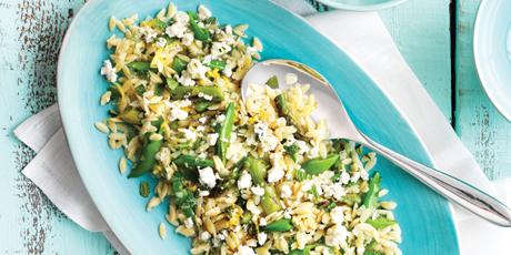 Orzo Pasta with Grilled Spring Asparagus, Snap Peas, Mint, Feta Cheese & Lemon