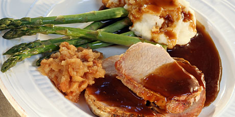 Oven Pork Roast with Applesauce, Mashed Potatoes, Gravy and Asparagus
