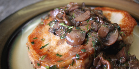 Pan Rushed Pork Chops with Tarragon Mushrooms