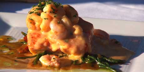 Pan Seared Salmon with Pink Shrimp Hollandaise