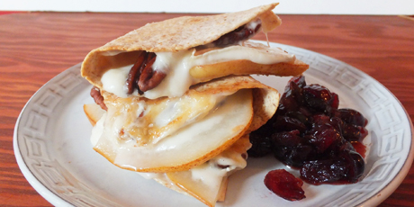 Pear and Brie Quesadillas with Cranberry Salsa