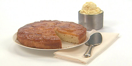 Pineapple Upside Down Cake with Pina Colada Ice Cream