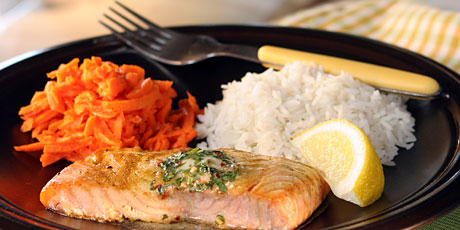 Poached Orange Salmon with Cilantro Butter, Rice and Carrot Slaw