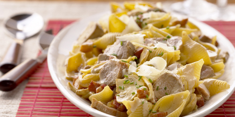 Pork Tenderloin Pasta with Pancetta, Creme Fraiche and Mushrooms