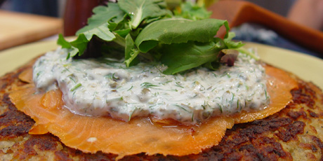 Potato Pancake with Smoked Salmon and Herbed Sour Cream Dressing