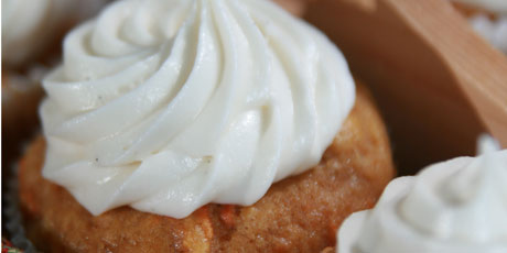 Pumpkin Carrot Muffins with Vanilla Frosting
