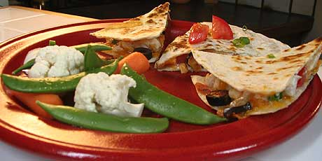 Quesadillas with Raw Veggies and Dip