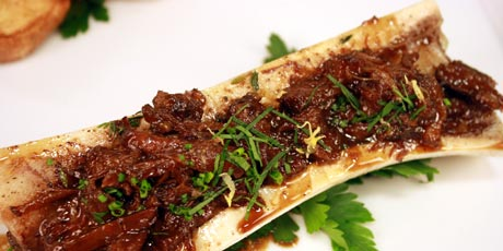 Roasted Bone Marrow with Ox Tail, Parsley Salad and Toasted Brioche
