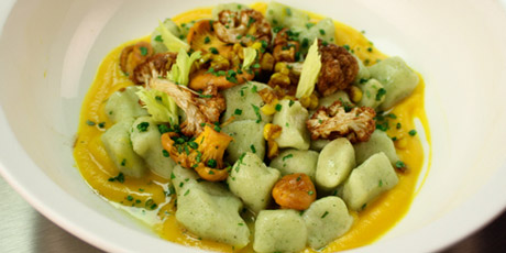 Sage Gnocchi with Squash Puree, Chantrelles and Corn