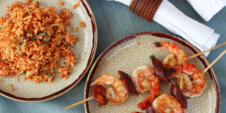 Shrimp and Chorizo Kebabs with Red Rice