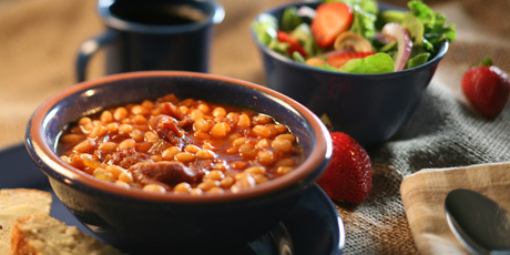 Slow Cooker Baked Beans with Multigrain Bread and Mixed Green Salad