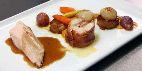 Slow Poached Chicken Breast, Bacon-Chicken Thigh Roulade, Pomme Fondant