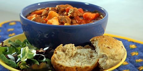 Slow Cooker Stew with Multigrain Buns and Salad