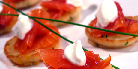 Smoked Salmon on Corn Blini with Wasabi Cream