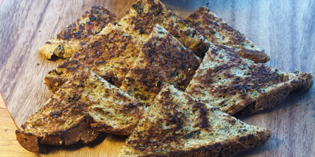 Spiced Toast Points with Baba Ghanoush