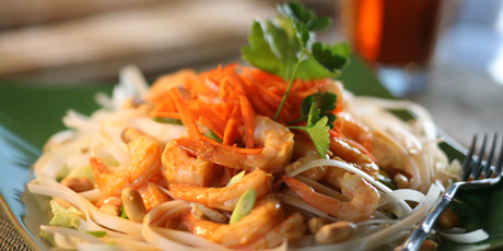 Spicy Thai Shrimp on Rice Noodles and Shredded Lettuce