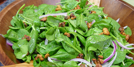 Spinach Salad with Raspberry Vinaigrette and Candied Walnuts