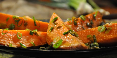 Steamed Sweet Potato with Green Onion Vinaigrette