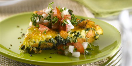 Sweet Potato & Spinach Frittata with Fresh Sweet Onion Salsa
