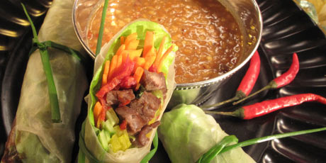 Thai Italian Spring Rolls With Peanut Dipping Sauce