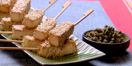 Tofu Skewers With Walnut Pesto