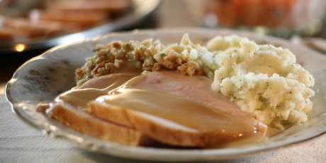 Turkey, Mashed Potatoes, Gravy and Cranberry-Carrot Salad