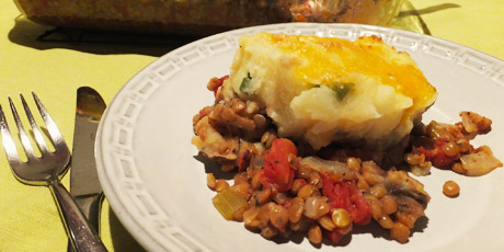 Vegetarian Shepherd's Pie with Cheese and Potato Topping