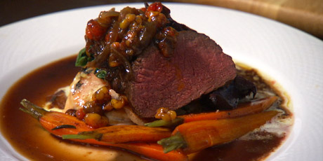 Venison with Sweet Potato Dauphinoise