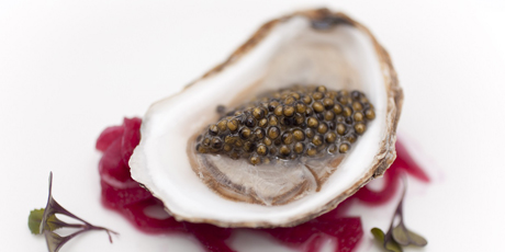 Warm Oysters in Chives Lemon Butter and Breviro Caviar