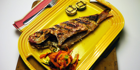 Whole Grilled Fish with Grilled Lime and Heirloom Carrot Salad
