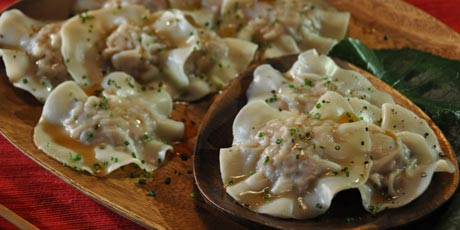 Wonton Ravioli with Apple Cider Glaze