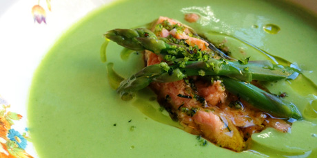 Chilled Asparagus Soup with Salmon