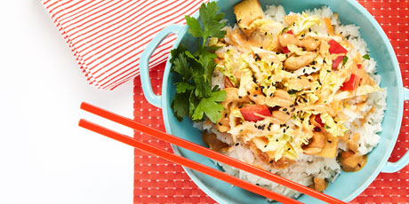 Coconut Rice Bowl with Ginger & Tofu Slaw