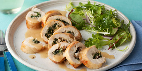 Spinach and Mushroom Stuffed Chicken Breasts