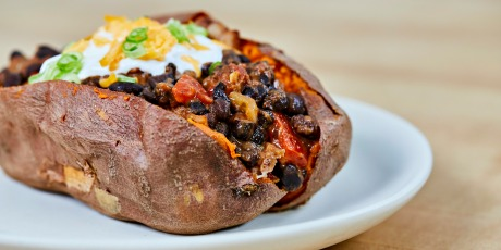 Chili Stuffed Sweet Potato