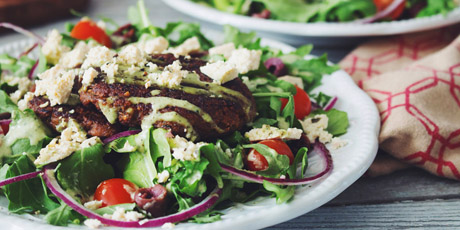 Vegan Greek Salad with Mushroom Souvlaki