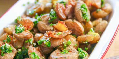 Crispy Smashed Potatoes with Chimichurri Dressing