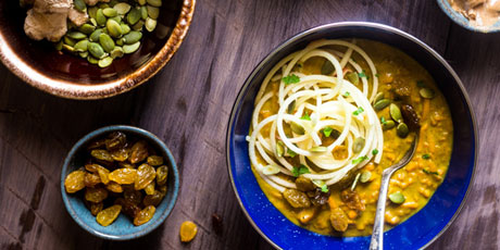 Coconut Curry with Almond Butter, Sweet Potato and Apple Noodles