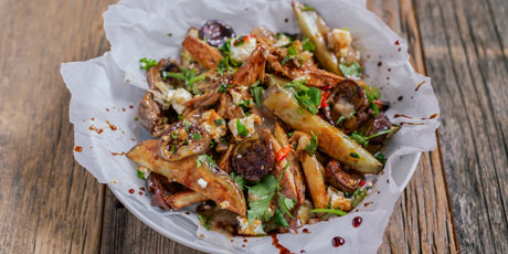 Middle Eastern Poutine with Shawarma Chicken