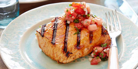 Grilled Salmon with Sherry Vinegar-Honey Glaze and Spicy Tomato Relish