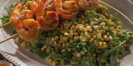 Grilled Shrimp and Corn Salad with Herb Lime Dressing