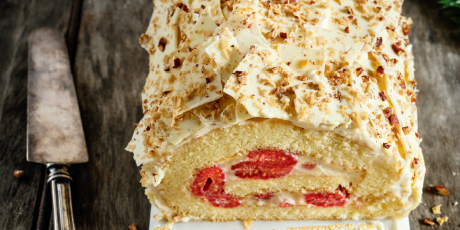 Maple, Raspberry and White Chocolate Yule Log