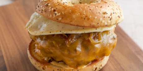 Breakfast Bagel Burgers